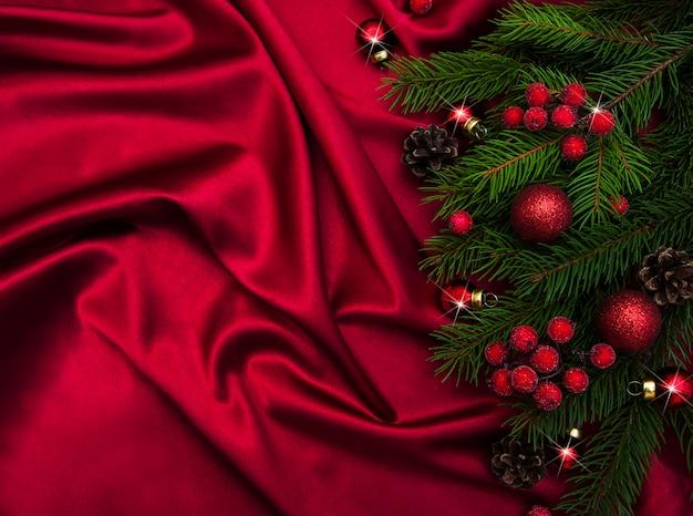Kerst vakantie decoratie met zijde achtergrond