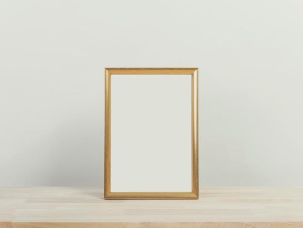 Kerst vakantie groet frame ontwerp mockup op houten tafel.