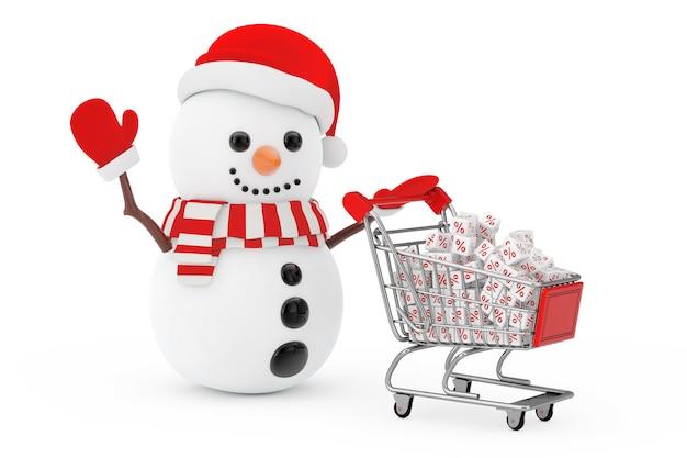 Kerst verkoop concept. sneeuwpop in kerstman hoed aangedreven door een winkelwagentje met witte korting kubussen op een witte achtergrond. 3d-rendering