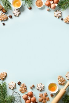 Kerst verticale kokende banner met traditionele koekjes met ingrediënten