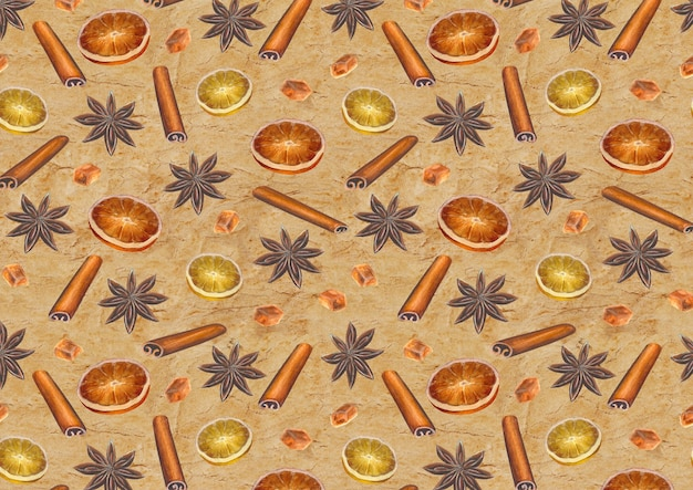 Kerst vintage oppervlak met aquarel handgetekende anijssterren, kaneelstokjes, suikerklontjes en citrusschijfjes