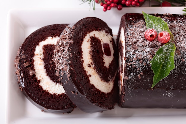 Kerst yule cake close-up