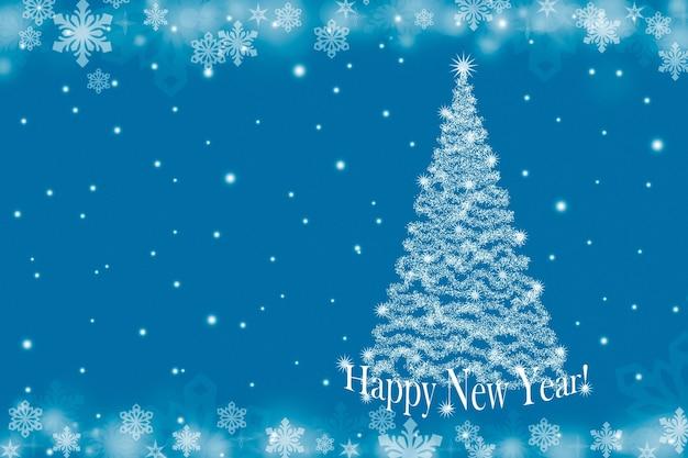 Kerstachtergrond met kerstboom en sneeuwvlokken op een blauwe achtergrond