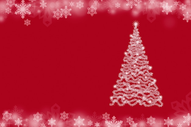 Kerstachtergrond met kerstboom en sneeuwvlokken op een rode achtergrond