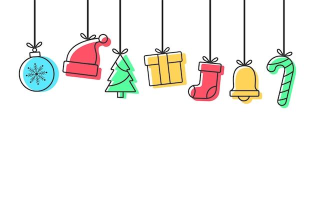 Kerstachtergrond met pictogrammen