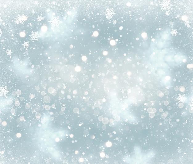 Kerstachtergrond met vallend sneeuwvlokkenontwerp