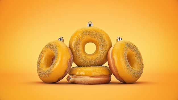 Kerstbal decoratie gemaakt van donut nieuwjaar concept 3d-rendering