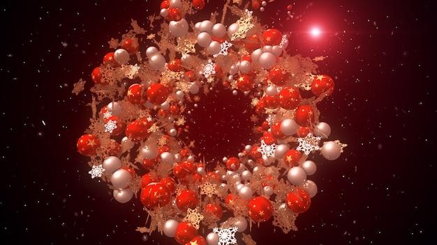 Kerstballen en sneeuwvlokken zwevend in de ruimte Premium Foto