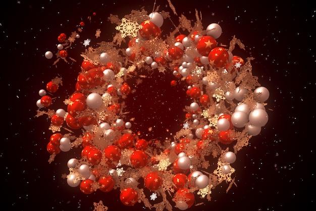 Kerstballen en sneeuwvlokken zwevend in de ruimte