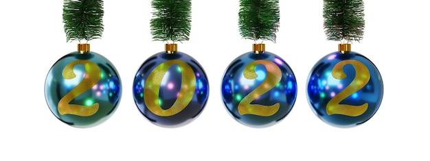 Kerstballen met het nummer 2022 geïsoleerd op een witte achtergrond. nieuwjaarsconcept.