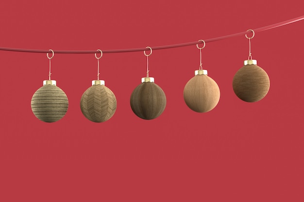 Kerstballen minimalistisch behang. 3d-weergave. 3d-afbeelding. vrolijk kerstfeest concept
