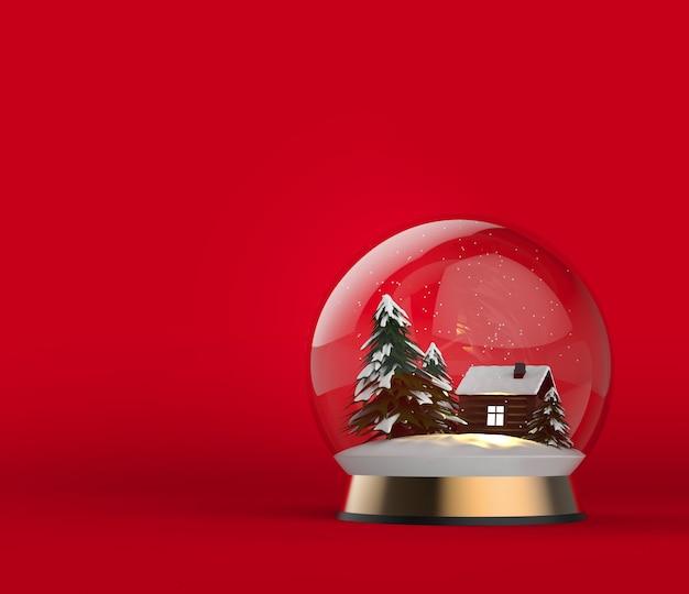 Kerstbol op gouden steun met houten huis en besneeuwde bomen nieuwjaar magische balillustratie
