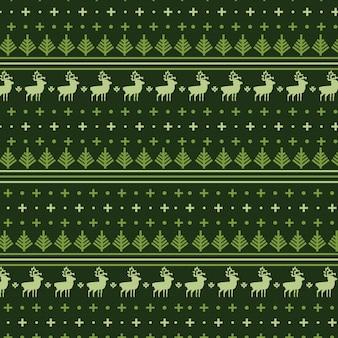 Kerstbomen met deer green naadloos patroon