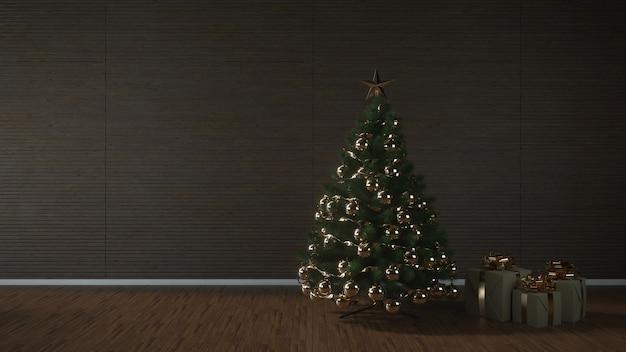 Kerstboom, cadeautjes en decoratie in lege woonkamer, mockup muur, 3d illustratie.