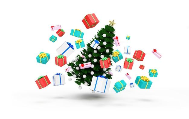 Kerstboom drijvend met hoop geschenkdozen op wit
