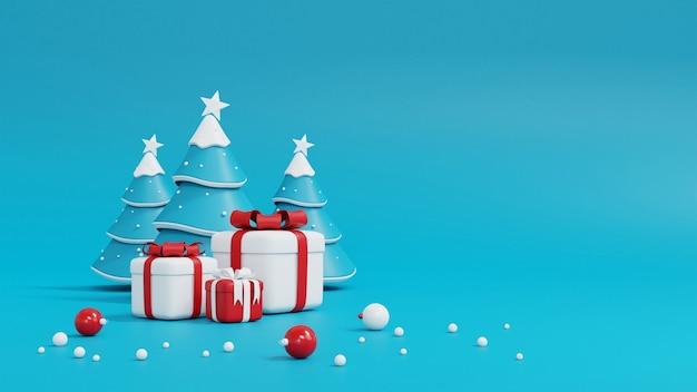 Kerstboom en geschenkdoos op blauw