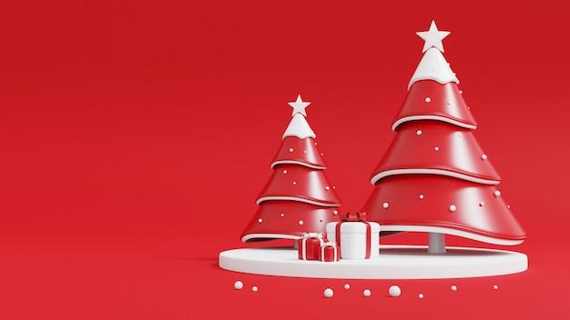 Kerstboom en geschenkdoos op rood