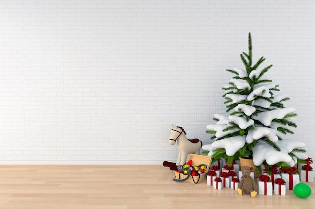 Kerstboom en pop in witte ruimte voor mockup