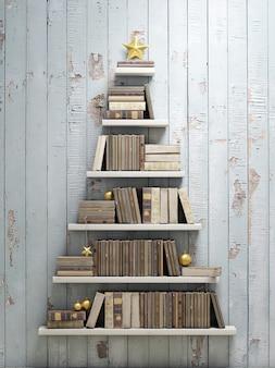 Kerstboom gemaakt door boeken op witte bakstenen muur