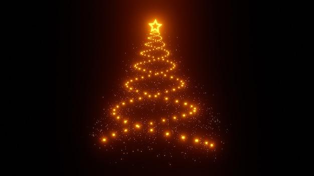 Kerstboom gemaakt van gloeiende deeltjes op zwarte achtergrond isoleren. hoge kwaliteit foto