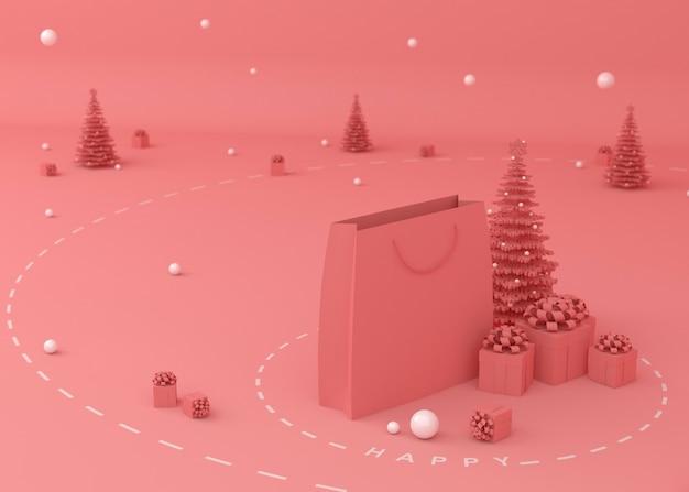 Kerstboom, geschenkdoos en boodschappentassen