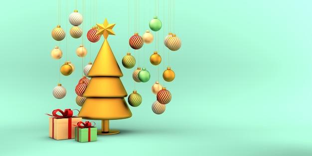 Kerstboom goud rood wit bollen en geschenkdozen op groen