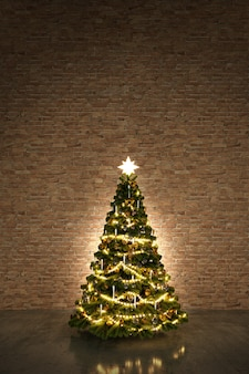 Kerstboom in een donkere kamer met lichtendecoratie en oranje bakstenen muur. 3d-weergave