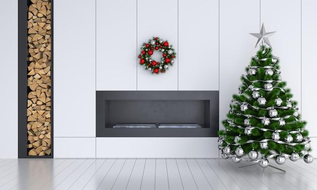 Kerstboom in witte ruimte voor mockup