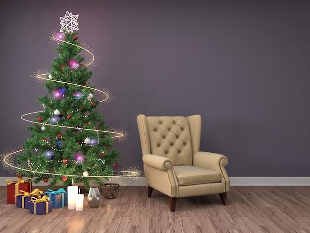 Kerstboom met decoraties in de woonkamer