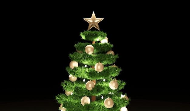 Kerstboom met een krans en ster bovenaan op donkere achtergrond