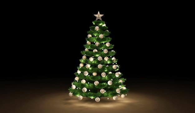 Kerstboom met een slinger en speelgoed op donkere achtergrond