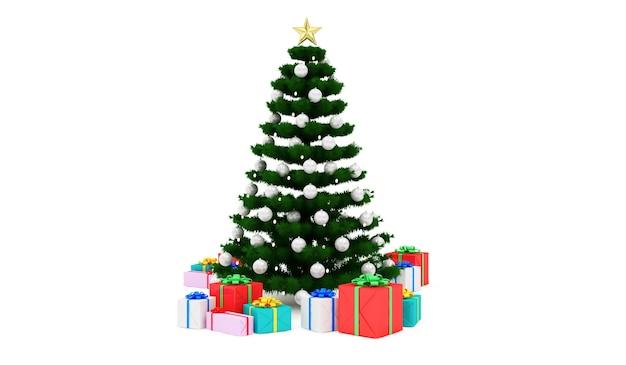 Kerstboom met hoop geschenkdozen geïsoleerd op wit