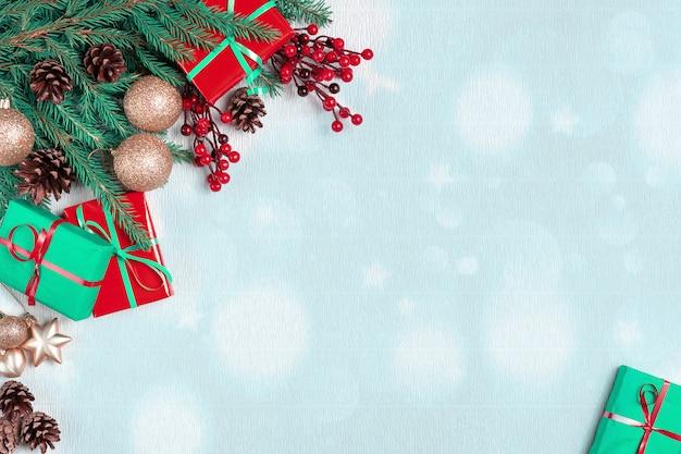 Kerstboom met kegels grens. nieuwjaars vakantie groenblijvende boom, xmas groen kunst hoek ontwerp.