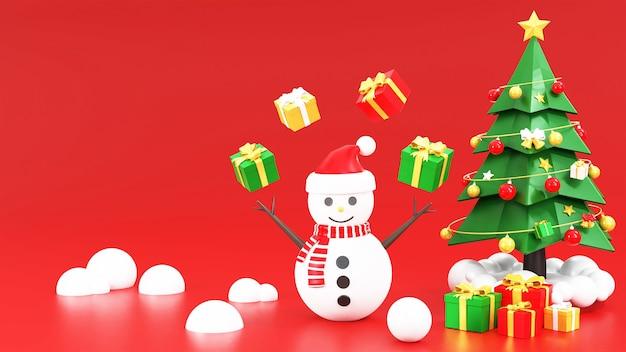 Kerstboom met sneeuwman