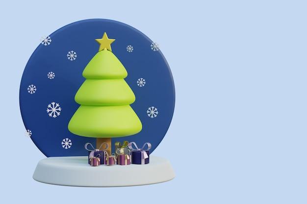 Kerstboom met vallende sneeuw en geschenken op een standaard 3d render illustratie