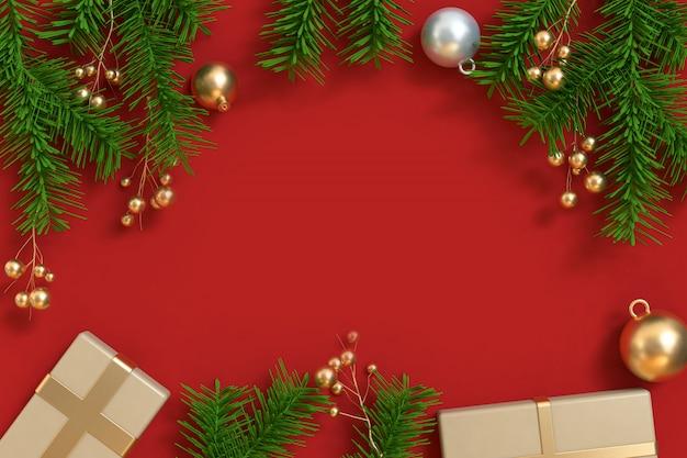 Kerstboom metallic goud bal cadeau vak rode vloer centrum, kerstmis achtergrond, vakantie kerstmis nieuwjaar 3d winter terug te geven
