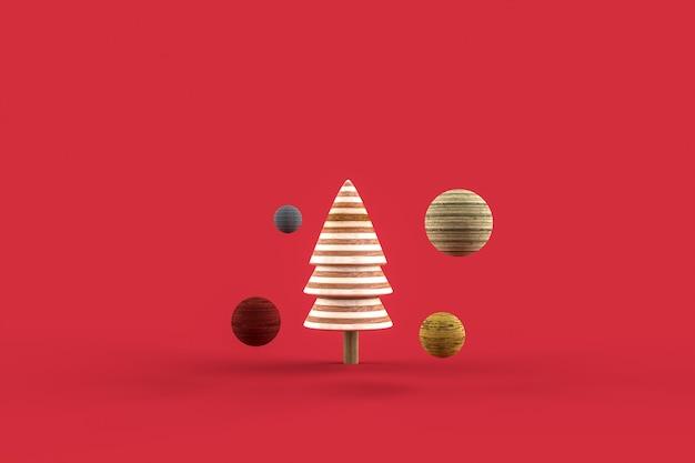 Kerstboom minimalistisch behang. 3d-weergave. 3d-afbeelding. vrolijk kerstfeest concept