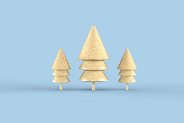 Kerstboom minimalistisch behang. 3d-weergave. vrolijk kerstfeest concept