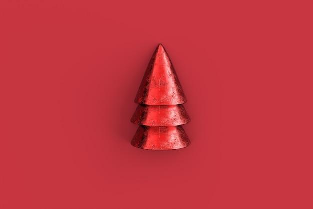 Kerstboom minimalistisch behang. 3d-weergave.