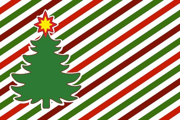 Kerstboom op gestreepte diagonale achtergrond van inpakpapier. nieuwjaarsachtergrond, kaart, patroon