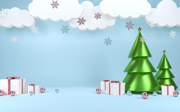 Kerstboom scène concept decoratie met lege ruimte voor tekst.