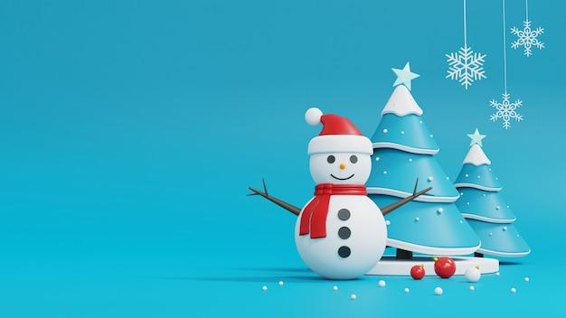 Kerstboom, sneeuwpop en geschenkdoos op blauw