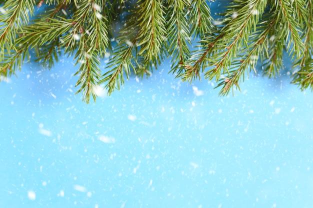 Kerstboom takken frame op een blauwe achtergrond. vallende sneeuw. ruimte voor tekst