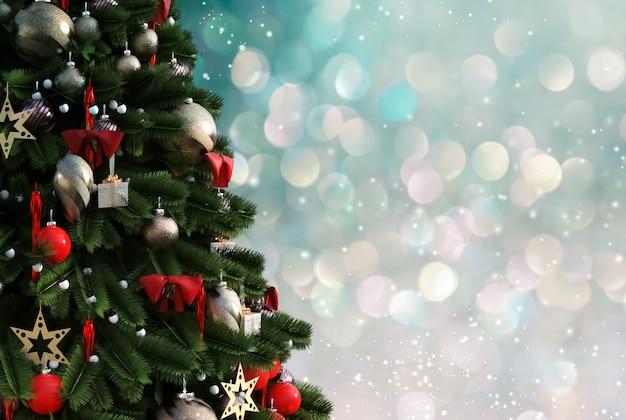 Kerstboom tegen een glinsterende lichtgevende achtergrond