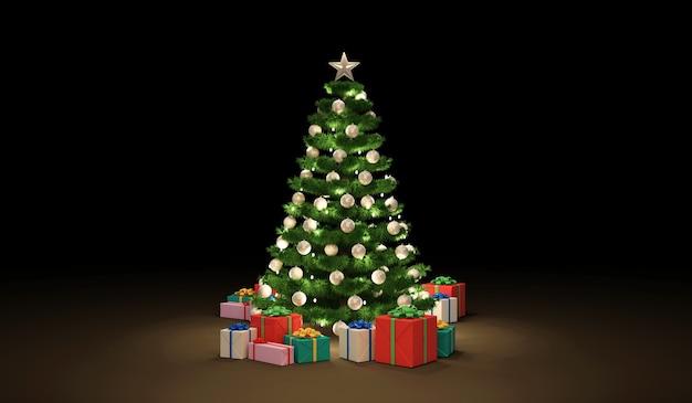 Kerstboom versierd met een slinger en speelgoed met een hoop geschenkdozen