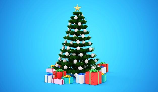 Kerstboom versierd met een slinger en speelgoed met hoop geschenkdozen op blauw