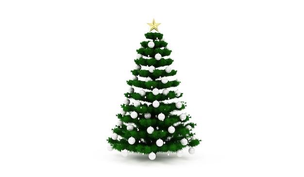Kerstboom versierd met een slinger en speelgoed