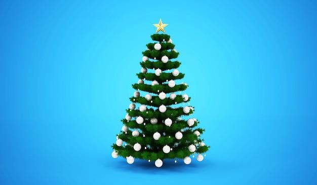 Kerstboom versierd met speelgoed op blauwe studio achtergrond