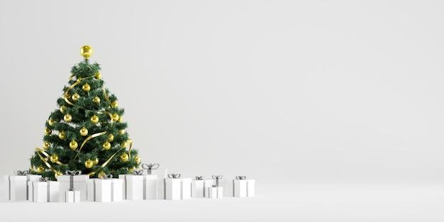 Kerstboom winter decoratie met geschenkdozen op witte achtergrond