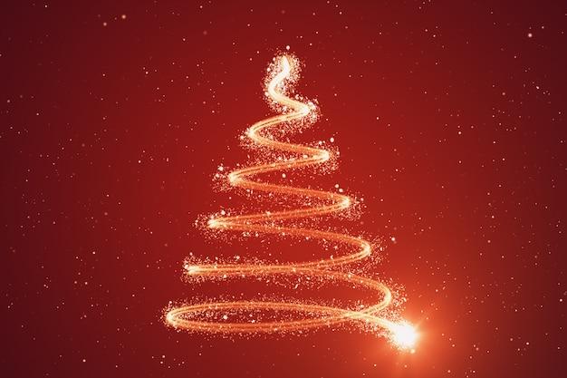 Kerstboomachtergrond - vrolijke kerstmis 3d illustratie Premium Foto